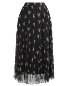 Heart Print Double-Layered Mesh Tulle Skirt in Black