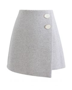 Marble Button Flap Mini Skirt in Grey