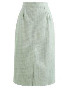 Vent Hem Houndstooth Wool-Blend Pencil Skirt in Mint