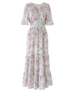 Pinky Leaves Print Frill Hem Wrap Maxi Dress
