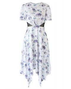 Watercolor Flowers Printed Satin Asymmetric Dress