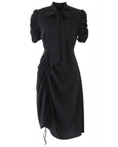 Drawstring Bow-Neck Dress in Black