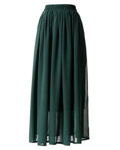 Maxi Falda Verde Oscuro con Pliegues