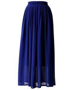 Maxi Falda Azul con Pliegues