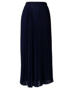 Maxi Falda Plisada de Chifón Color Azul Marino