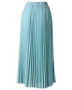 Maxi Falda Plisada de Chifón Color Verde Azulado