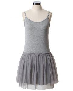 Vestido de Tul Estilo Ballet en Gris