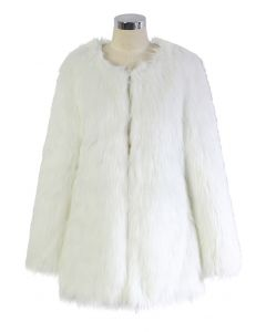 Glamoroso Abrigo Chicwish de Piel Sintética Blanco