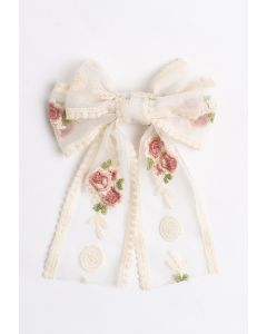 Embroidery Mesh Big Bow Barrette with Tail