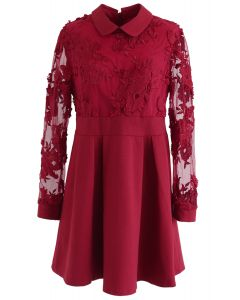 Vivid Flower Mesh Lace Skater Dress in Red
