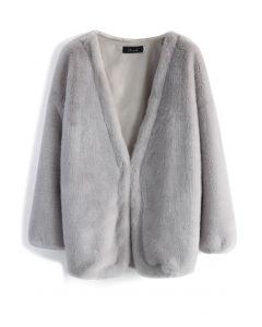 Abrigo de piel sintética ultra cómodo en gris
