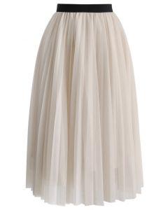 Falda de Tul Rosa con Pliegues