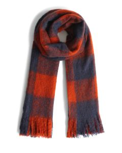 Orange and Blue Gingham Scarf