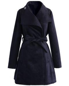 Abrigo de lana con cinturón Urban Chic en azul marino