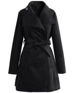 Abrigo de lana con cinturón Urban Chic en negro