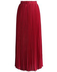 Maxi Falda de Chifón Plisada con Cinturón en Color Rubí