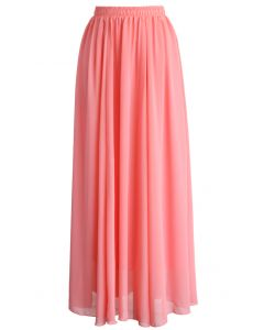 Maxi Falda de Chifón Color Rosa Pastel