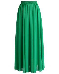 Maxi Falda de Chifón Color Verde Esmeralda