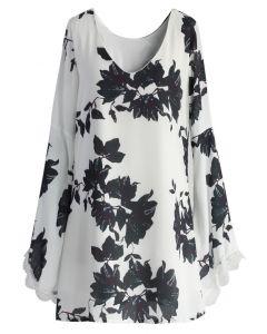Vestido de Chifón Blanco Con Estampado Floral y Manga Campana