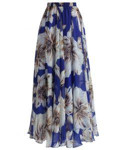 Maravillosa Maxi Falda Floral en Azul