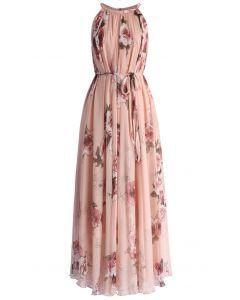Vestido largo rosa con panache de Rose