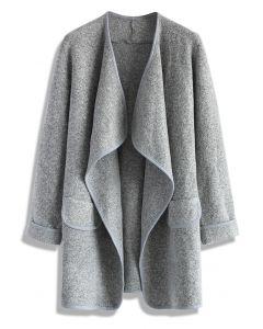 Abrigo abierto recién tejido en gris