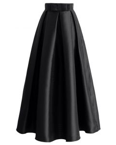 Falda larga plisada bowknot en negro