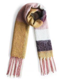 Delicada Bufanda con Franjas de Colores y Flecos