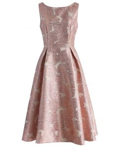 Fanciful Rose Intarsia Prom Dress in Pink