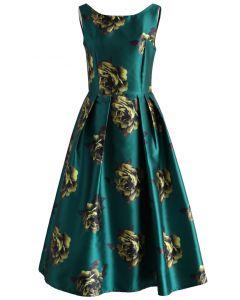 Vestido de fiesta con estampado de peonías en esmeralda