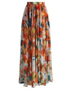 Maxi Falda Naranja con Estampado Floral Acuarelado