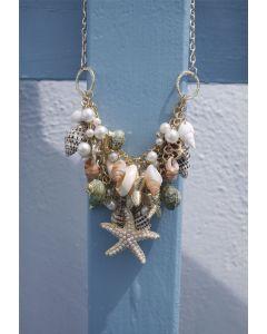Collar con Perlas, Estrellas de Mar y Caracolas