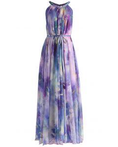 Maxi Vestido de Tirantes con Estampado Violeta Floral Acuarelado