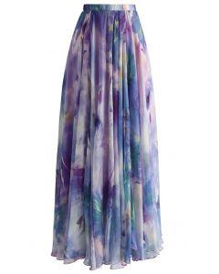 Maxi Falda Violeta con Estampado Floral Acuarelado