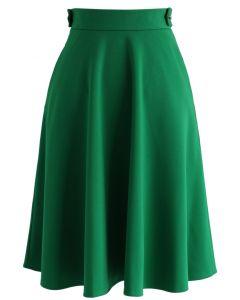 Falda Básica Línea A en Color Verde Esmeralda