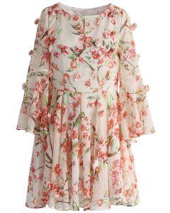 Vestido de Chifón con Pliegues y Estampado de Flores de Melocotón
