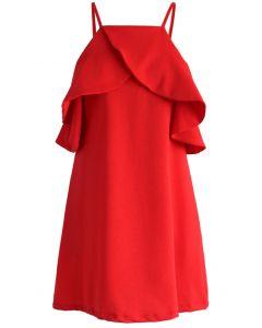 Vestido Rojo Estilo Sílfide con Hombros Descubiertos