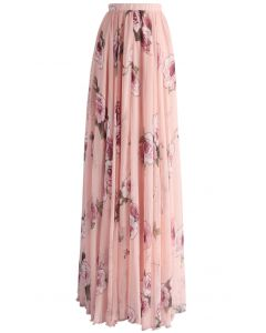 Salerosa Maxi Falda Rosa con Estampado de Rosas