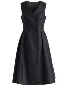 Sencillo pero Encantador Vestido Estilo Abrigo en Negro