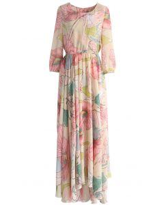 Maxi Vestido con Estampado Floral de Primavera