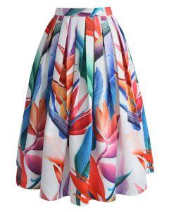 Falda midi estampada florida strelitzia