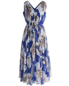 Maravilloso Maxi Vestido Floral en Chifón Azul