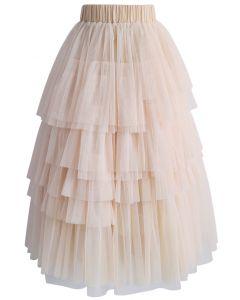 Romántica Falda Color Rosa Piel con Capas de Tul