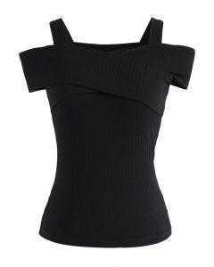 Innegablemente Encantadora Blusa Negra Corta Traslapada en el Escote y con Hombros Desnudos