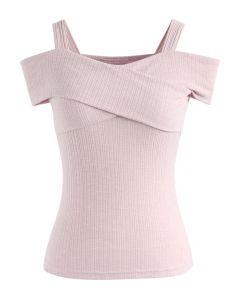 Innegablemente Encantadora Blusa Rosa Corta Traslapada en el Escote y con Hombros Desnudos