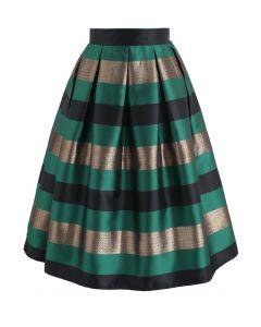 Falda midi plisada Cheers Stripes en verde