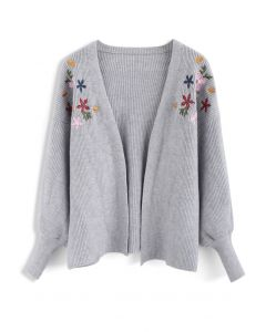 Floral Song Embroidered Knit Cardigan in Grey