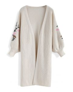 Bloom on Sleeves Embroidered Knit Cardigan in Cream