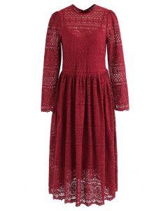 Vestido de malla de encaje Nothing Beats en rojo