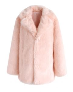 Abrigo de piel sintética de malvavisco rosa